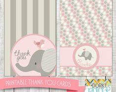 Pink Elephant Baby Shower Printable Circle Tags PDF