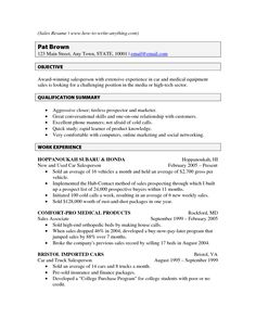 sample resume for car salesman