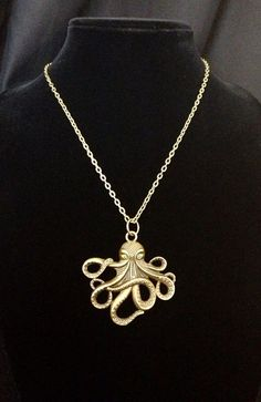 Large antiqued bronze octopus pendant necklace on Etsy, $17.00