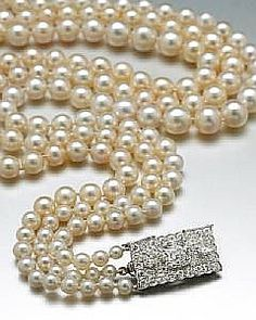 The necklace, which comprises 224 pearls and two Cartier diamond clasps, was bought from The House of Cartier in the 1920s by the founder of Dodge Automobiles, Michigan-born Horace E. Dodge, for his Scottish wife Anna Thomson Dodge. He bought them in the belief they had once belonged to Catherine the Great of Russia.