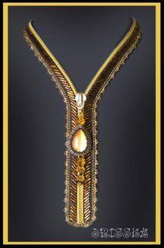 Zipper. Bead-embroidered necklace by Jrisska on biser.info