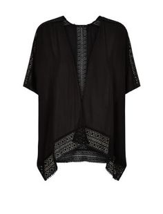A kimono is one of our summer must-haves and this Black Crochet Trim Kimono is versatile enough to wear over a bikini or with jeans and a t-shirt. #newlook #fashion