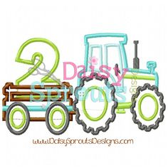 Tractor Pulling Number 2  Machine Applique  by DaisySproutsDesigns