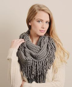 Gray Lattice Fringe Infinity Scarf