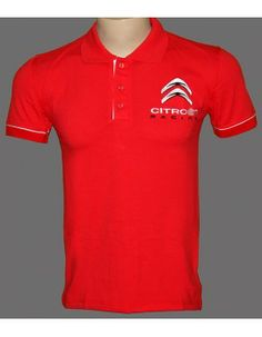 Citroen Red T-Shirt With Collar  High Quality embroidered logos http://autofanstore.com