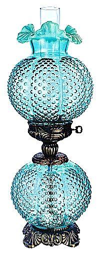 Fenton Robin Egg Blue Hobnail Glass Lamp