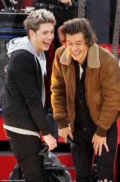 Laugh a minute: Best friends and band mates Harry and Niall share a laugh on stage