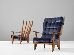 Guillerme et Chambron Pair of Lounge Chairs in Solid Oak 3