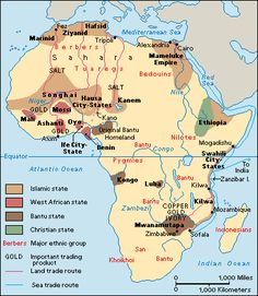Africa in the 1400s. Northern and Eastern Africa were part of the trade networks and exposed to the plague. Interior portions remained unaffected.