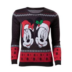 Buy Disney Mickey Mouse Mickey & Minnie Christmas Knitted Sweater, Female, Extra Large, Dark Grey/Red - For Only VAT) Online from SmartTeck. See our other Disney products. Minnie Mouse Christmas, Mickey Minnie Mouse, Disney Shirts For Family, Couple Shirts, Christmas Jumpers, Christmas Sweaters, Christmas Knitting, Sweater Fashion, Guys And Girls