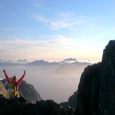 Celebrating a climb of Vagakallen in Lofoten, Norway. (Photo credit: https://instagram.com/p/6ys1HsHgWd)