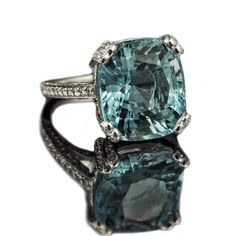 """This has been a much pinned image.  Just to clarify:  """"Santa Maria"""" by Rumour Jewellery, London.  It is a 9.8ct cushion cut aquamarine with 1.60ct brilliant cut pave set diamonds."""