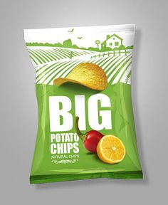 Big Chips Packaging on Behance Chips Packaging, Packaging Snack, Milk Packaging, Food Packaging Design, Packaging Design Inspiration, Brand Packaging, Design Poster, Label Design, Patatas Chips
