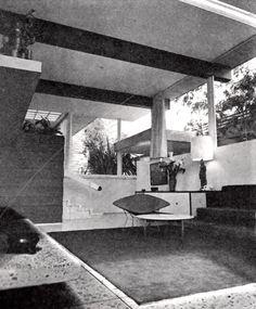 Vista del estudio, Casa Cervantes, calle de la Llama 176, Jardines del Pedregal, México DF 1960   Arq. Antonio Attolini Lack -  View of the study, Casa Cervantes, Gardens of Pedregal, Mexico City 1960