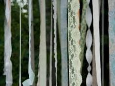 Lace ribbon curtains (maybe for the entryway to the pavilion for the reception? Ribbon Curtain, Ribbon Garland, Lace Ribbon, Garlands, Recycled Wedding, Recycle Your Wedding, Plan My Wedding, Wedding Ideas, Wedding Stuff