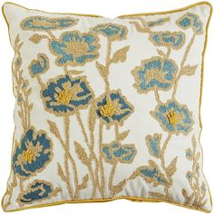 Mineral Embellished Floral Pillow - Yellow | Pier 1 Imports $34.95