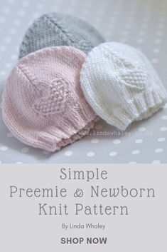 Baby Cardigan Knitting Pattern Free, Beanie Pattern Free, Baby Hats Knitting, Easy Knitting Patterns, Knitted Hats, Simple Knitting, Newborn Knit Hat, Easy Knit Hat, Grandchildren