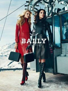 Bally Fall 2012 Ad Campaign Caroline Trentini and Hilary Rhoda photographed by Norman Jean Roy. Snow Fashion, High Fashion, Red Fashion, Norman Jean Roy, Caroline Trentini, Hilary Rhoda, Leather Trench Coat, Trench Coats, Leather Coats