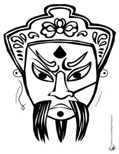 Chinese Man Mask Coloring Page