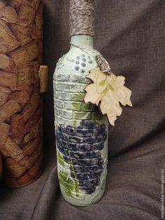 Бутылка декупаж - бутылка,бутылка декупаж,подарок,бутылка вина,акриловые краски и лак