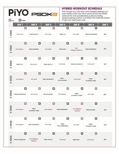 Piyo Hybrid Workout Schedules And Calendar Downloads  Brazil
