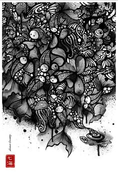 25 Stunning Black and White Illustrations by Nanami Cowdroy Zen Doodle, Doodle Art, Doodle Inspiration, Doodle Ideas, Doodles Zentangles, Wow Art, Black And White Illustration, Illustrations, Pen Illustration
