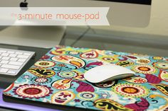 3-Minute Mouse-Pad - using fabric, wonder under (iron-on fusible webbing) and an old mouse pad