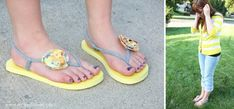Tutorial...how to make these cute flip flops from scraps from and old t-shirt!