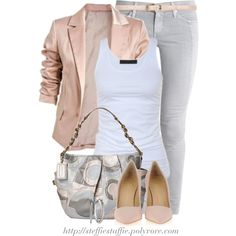 """Edgy Chic in Gray & Pink"" by steffiestaffie on Polyvore"