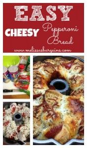 My family LOVES monkey bread and they love pizza, so I figured this would be the best of both worlds! This Easy Cheesy Pepperoni Bread was so easy to make ( Appetizer Recipes, Snack Recipes, Cooking Recipes, Cooking Time, Appetizers, I Love Food, Good Food, Yummy Food, Pepperoni Bread