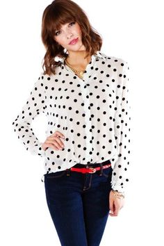 Images of White Blouse With Black Polka Dots - Reikian