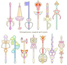 """bitmapdreams: """" mahou shoujo wands, one for each of my new pixel art collections~ can you guess which one goes with which? """" the full color version. tag or comment which one you would use! Anime Weapons, Fantasy Weapons, Paper Doll Costume, Magic Design, Sailor Moon Wallpaper, Witch Art, Weapon Concept Art, Kawaii Art, Magical Girl"""