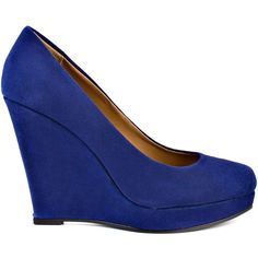 Kelsi Dagger Brooklyn Women's Danelle - Navy Suede (€49) ❤ liked on Polyvore featuring shoes, pumps, heels, wedges, blue, shoes - wedges, high heel shoes, blue suede shoes, platform pumps and platform wedge pumps