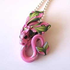 Dragon Pendant Necklace Fairy Rider Dragon Necklace by Claybykim