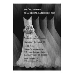 Bridesmaid Luncheon or Brunch Silver Gray Dresses Personalized Invitation