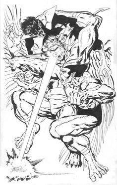 Beast & Nightcrawler vs Mimic by John Byrne
