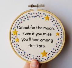 Hand Embroidery 'Shoot for the Moon Star' Inspirational Quote Hoop Art