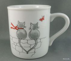 Toscany Coffee Mug Cat Fight Wall Sitting Love Holding Tails Butterfly 8oz Japan #CatCute
