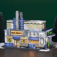 dept 56 blue line bus depot Dickens Christmas Carol, Grinch Christmas Tree, Christmas In The City, Blue Line Bus, Villas, Christmas Village Collections, Polaroid, Christmas Villages, Christmas Houses