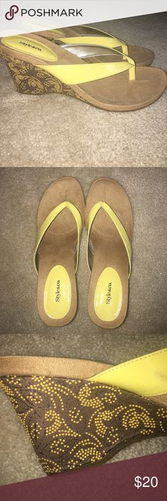 Brand new wedge sandals Brand-new size 8 1/2 style and Company brand yellow and brown wedge sandals with a design on the heel. Style & Co Shoes Wedges