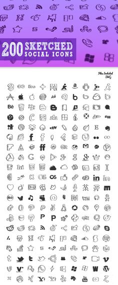200 Free Sketched Social Icons