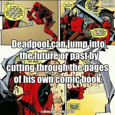 He can do this because he's aware that he's a comic book character and only exists for the amusement and entertainment of the audience. Deadpool Facts, Marvel Facts, Deadpool Stuff, Marvel Funny, Marvel Memes, Marvel Dc Comics, Marvel Avengers, Comic Book Characters, Avengers