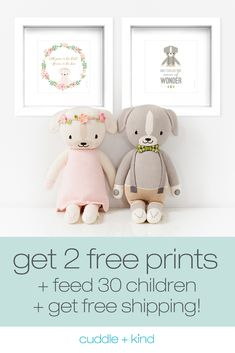 You'll receive two free unframed prints of your choice, feed 30 children in need and get free shipping when you purchase any two dolls – a total $47 savings. Every artisan-made cuddle+kind doll is lovingly handcrafted, ethically produced and provides 10 meals to children in need. 1 doll = 10 meals