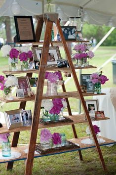 Top 20 Vintage Wooden Ladder Wedding Decor Ideas a wedding display with photos, flowers and frames can be a nice wedidng decoration for any space Budget Wedding, Chic Wedding, Wedding Events, Wedding Ceremony, Rustic Wedding, Wedding Planning, Wedding Arches, Table Wedding, Modest Wedding