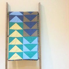 Baby Boy Quilt, Crib Quilt, Stroller Blanket - Modern Flying Geese in Blue and Green
