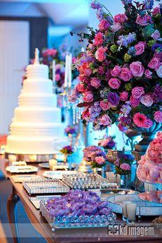 Decoração de Casamento: Azul, Lilás e Rosa - Peguei o Bouquet