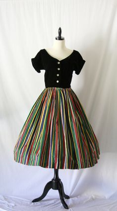 Vintage 1950's Dress - Black Velvet and Colorful Striped Taffeta Cocktail Party Frock