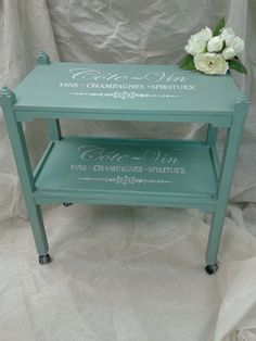 chic looking vintage tea trolley upcycled, revamped with Autentico Chalk Paint Troubled Water, stenciled using a Maison de Stencil stencil in Chalk Grey.uk - free delivery within 10 miles of our shop. Tea Trolley, Tea Cart, Drinks Trolley, Chalk Paint Projects, Chalk Paint Furniture, Furniture Refinishing, Paint Ideas, Upcycled Vintage, Vintage Tea
