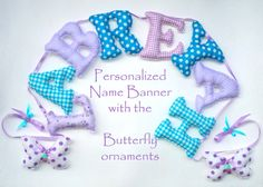 Customized name banner with butteflies by LittleFairyCottage, $70.00