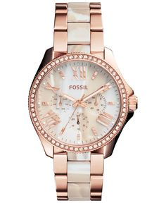 Jewelry OFF! Fossil Womens Chronograph Cecile Shimmer Horn and Rose Gold-Tone Stainless Steel Bracelet Watch - Watches - Jewelry Watches - Macys Stylish Watches, Luxury Watches, Mickeal Kors, Rose Gold Watches, Fossil Watches, Women's Watches, Beautiful Watches, Stainless Steel Bracelet, Fashion Watches
